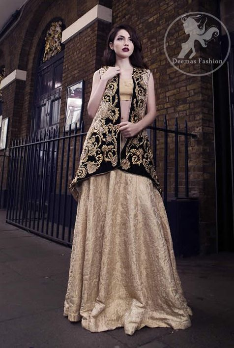 d361549aaee97a Off White & Black Embroidered Jacket - Banarsi Blouse - Lehenga in ...