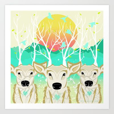 Roots To Grow and Wings To Fly  (Three Deer New Dawn) Art Print by soaring anchor designs ⚓ - $14.56