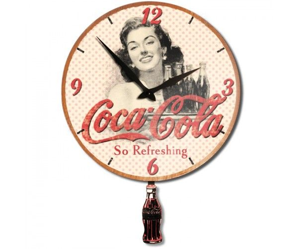 horloge en bois 33 cm balancier coca cola natives provence coca cola pinterest. Black Bedroom Furniture Sets. Home Design Ideas