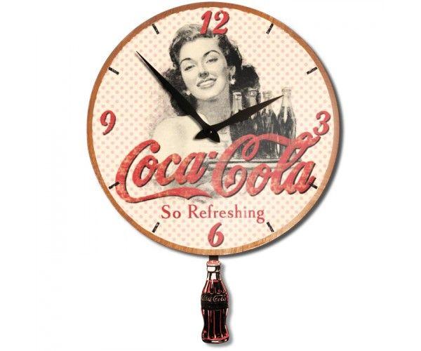 horloge en bois 33 cm balancier coca cola natives provence coca cola pinterest. Black Bedroom Furniture Sets. Home Design Ideas