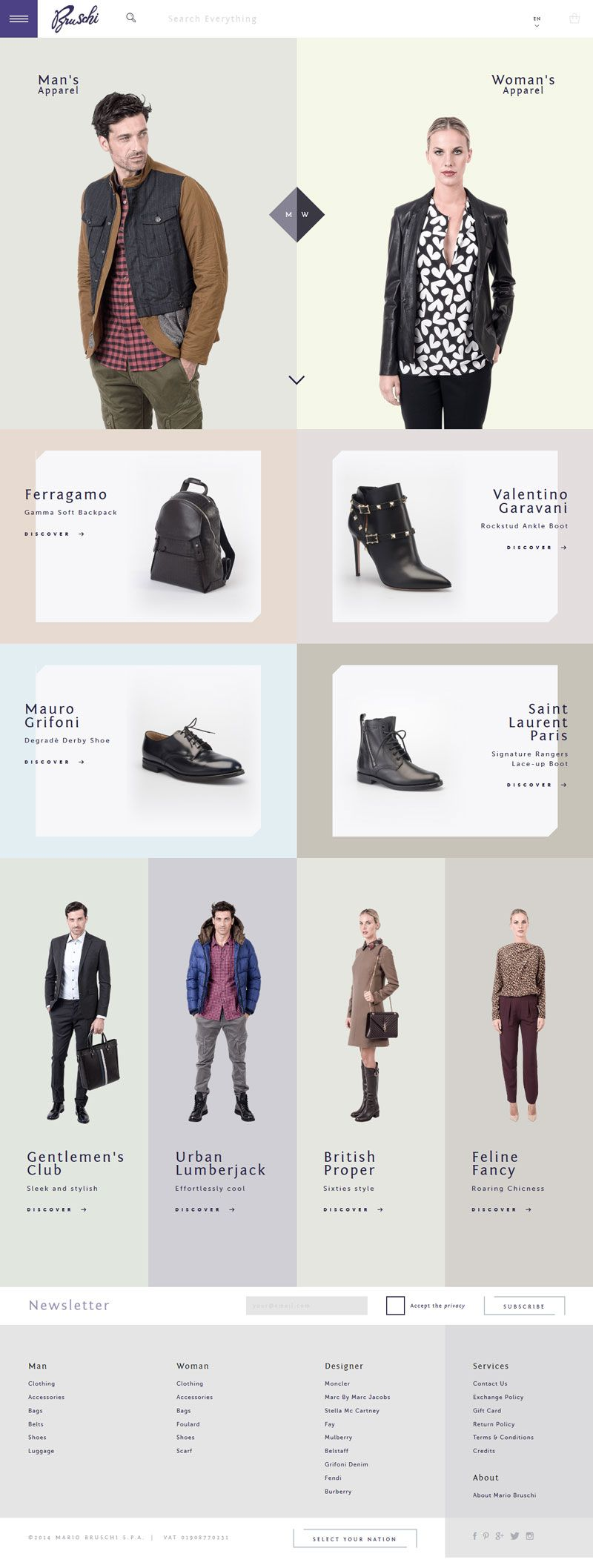 Flat Design Website; Example; Category: Inspiration; Name Site: Mario Bruschi; Type Website: Clothing, shoes, accessories and bags; Creative; Pastel Colors