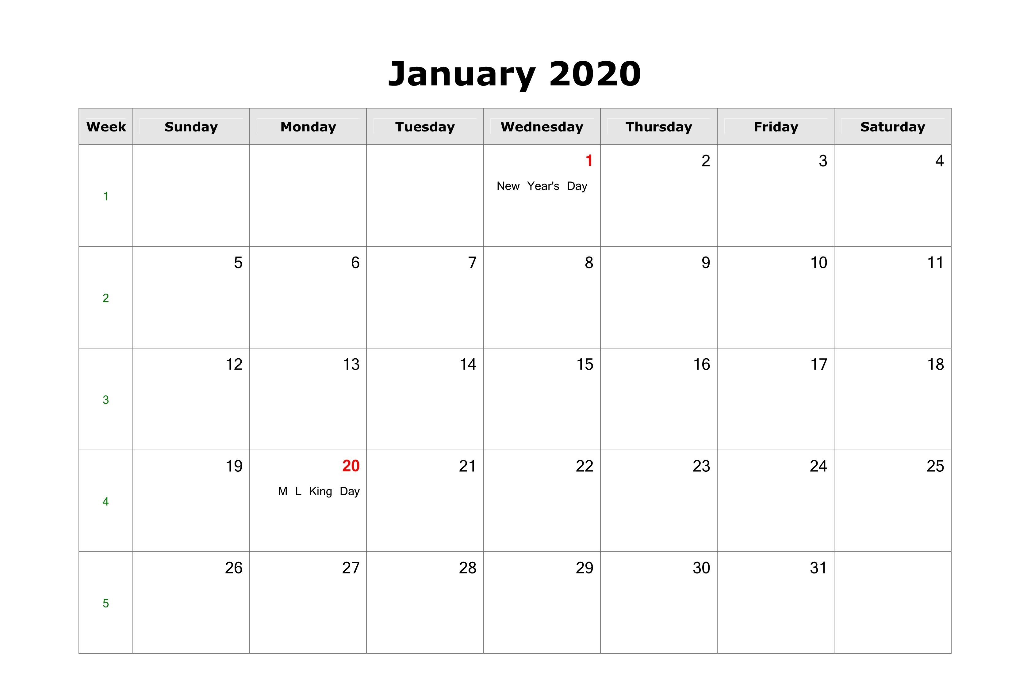 Free Fillable January Calendar 2020 Printable Editable With Notes