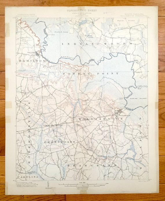 Hamilton Nc Map.Antique Williamston North Carolina 1902 Us Geological Survey