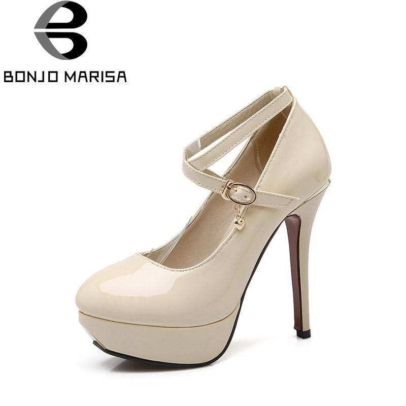 0766205e817 BONJOMARISA 2018 Spring Autumn Elegant Beigh Ankle Strap Pumps Shoes Woman  Platform High Heels Big Size