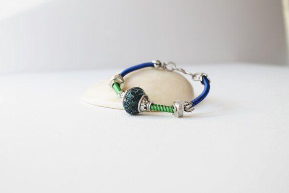 Blue & Green Bracelet  Colorful Navy  Kelly by jenniflairjewelry, $42.00