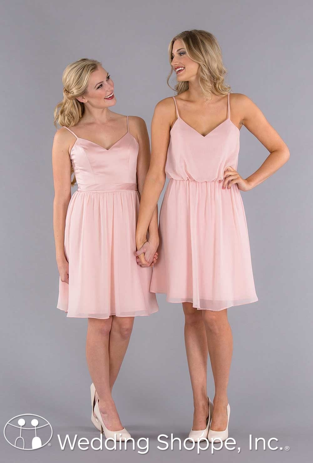 Chic mix and match bridesmaid dresses in blush. | Wedding | Pinterest