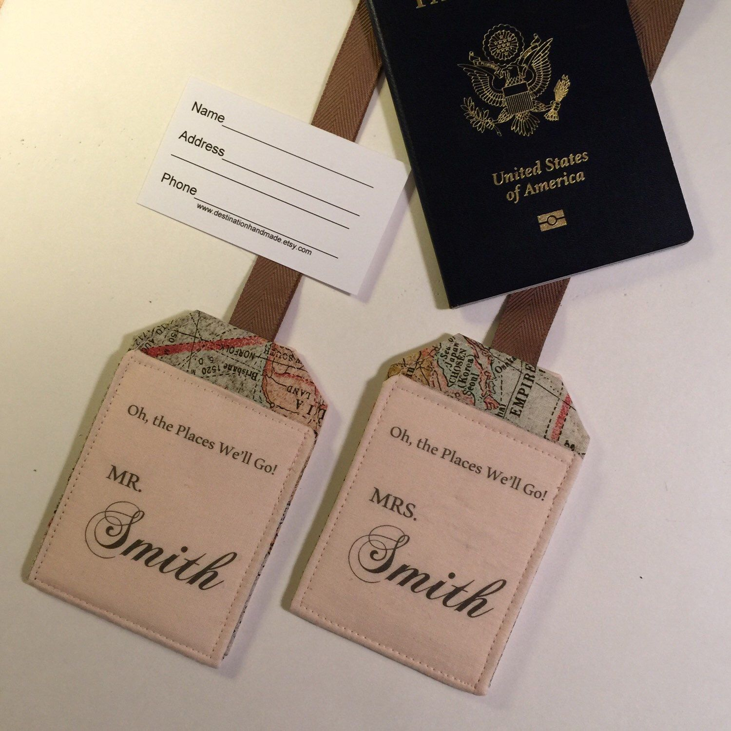 A personal favorite from my Etsy shop https://www.etsy.com/listing/249517588/wedding-gift-custom-luggage-tags-just