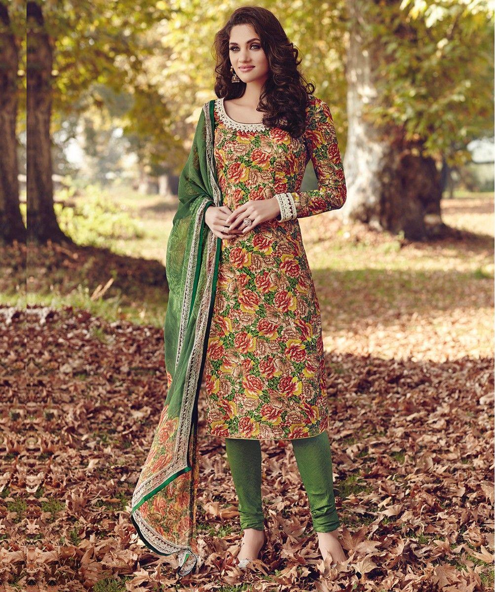 Tussar Silk Multicolour Floral Print Unstitched Churidar Suit ...