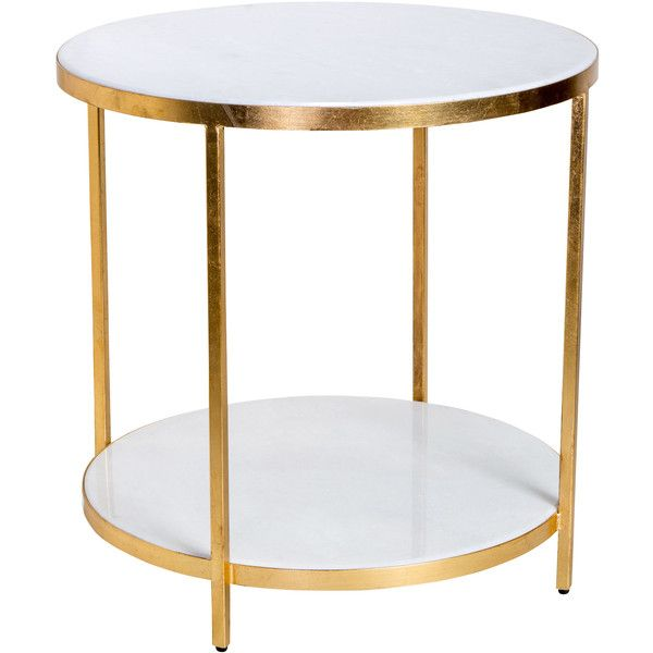 Austie Regency Gold Leaf White Marble End Table 1 463 Liked On Polyvore Featuring Home Furni Marble End Tables Marble Side Tables White Marble Side Table