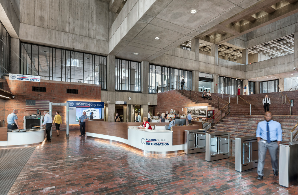Boston City Hall Renovation Preserves Honesty Of Brutalist Building Boston City Hall City Hall Architecture Brutalist Buildings