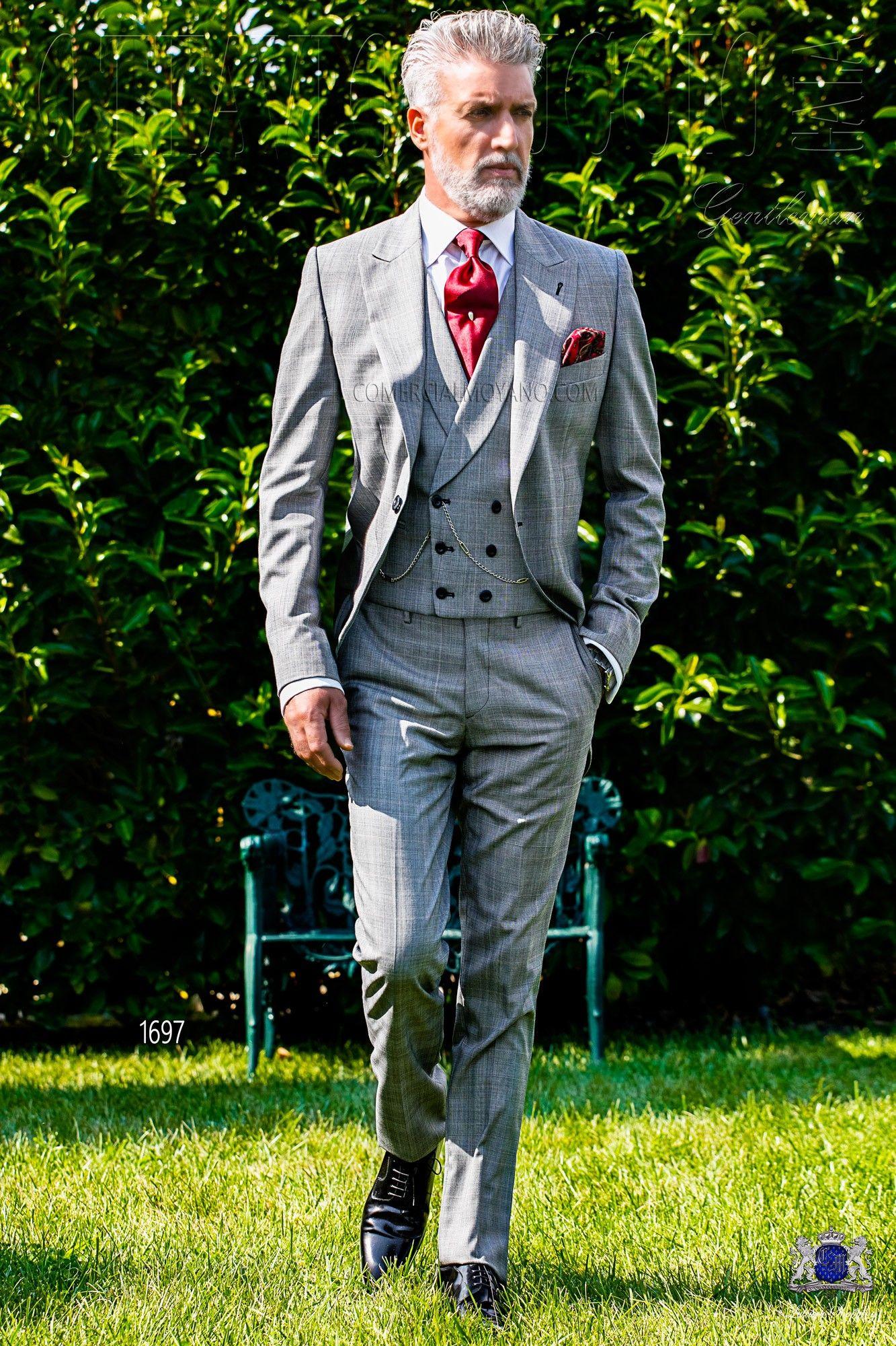 italienisch grau und rot cut anzug mit steigendes revers