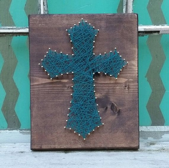 String art cross cross nail art custom string art jade blue string art cross cross nail art custom string art jade blue cross christian home decor 3d wall art cross collection wood cross sign prinsesfo Images
