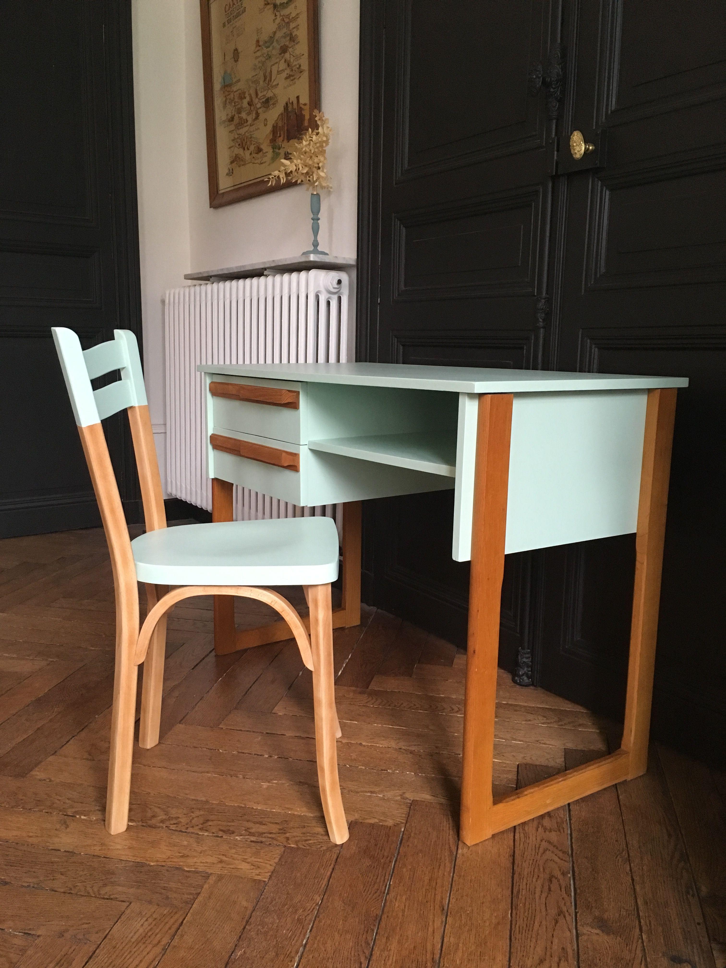 Bureau Vintage Scandinave Vert Celadon Meubles Vintage