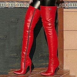 0f82ea0bad9d OMG Shoespie Red Stylish Plain Pointed Toe Stiletto Heel Thigh High Boots   shoes  fashions