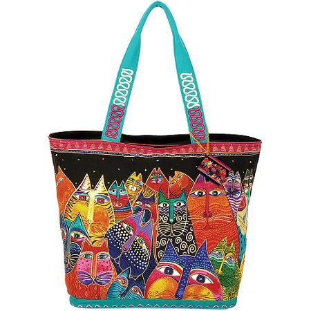 Laurel Burch - Shoulder Tote Zipper Top 19.5X6.75X15-Fantasticats - Walmart.com