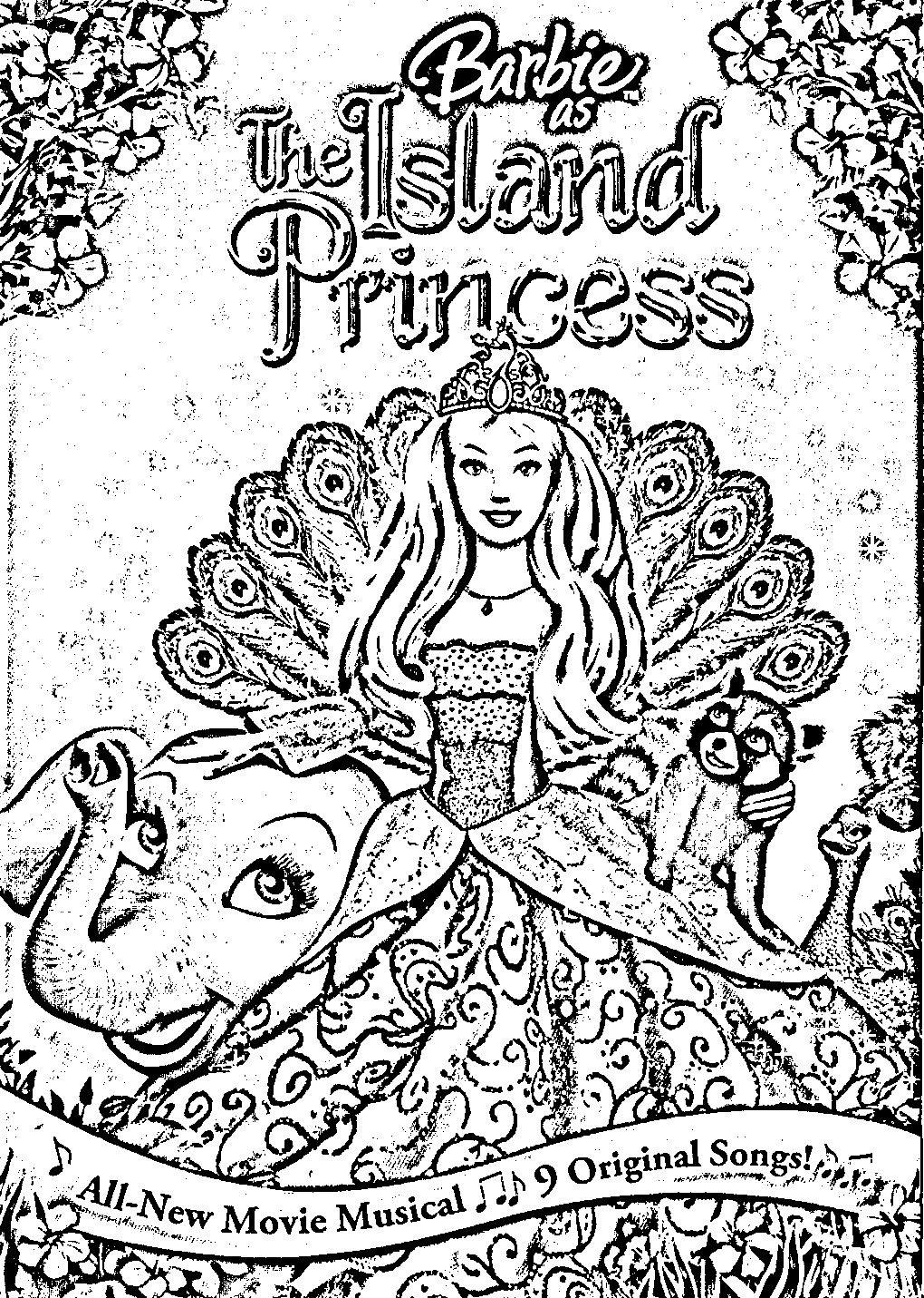 barbie island princess coloring pages barbie coloring pinterest