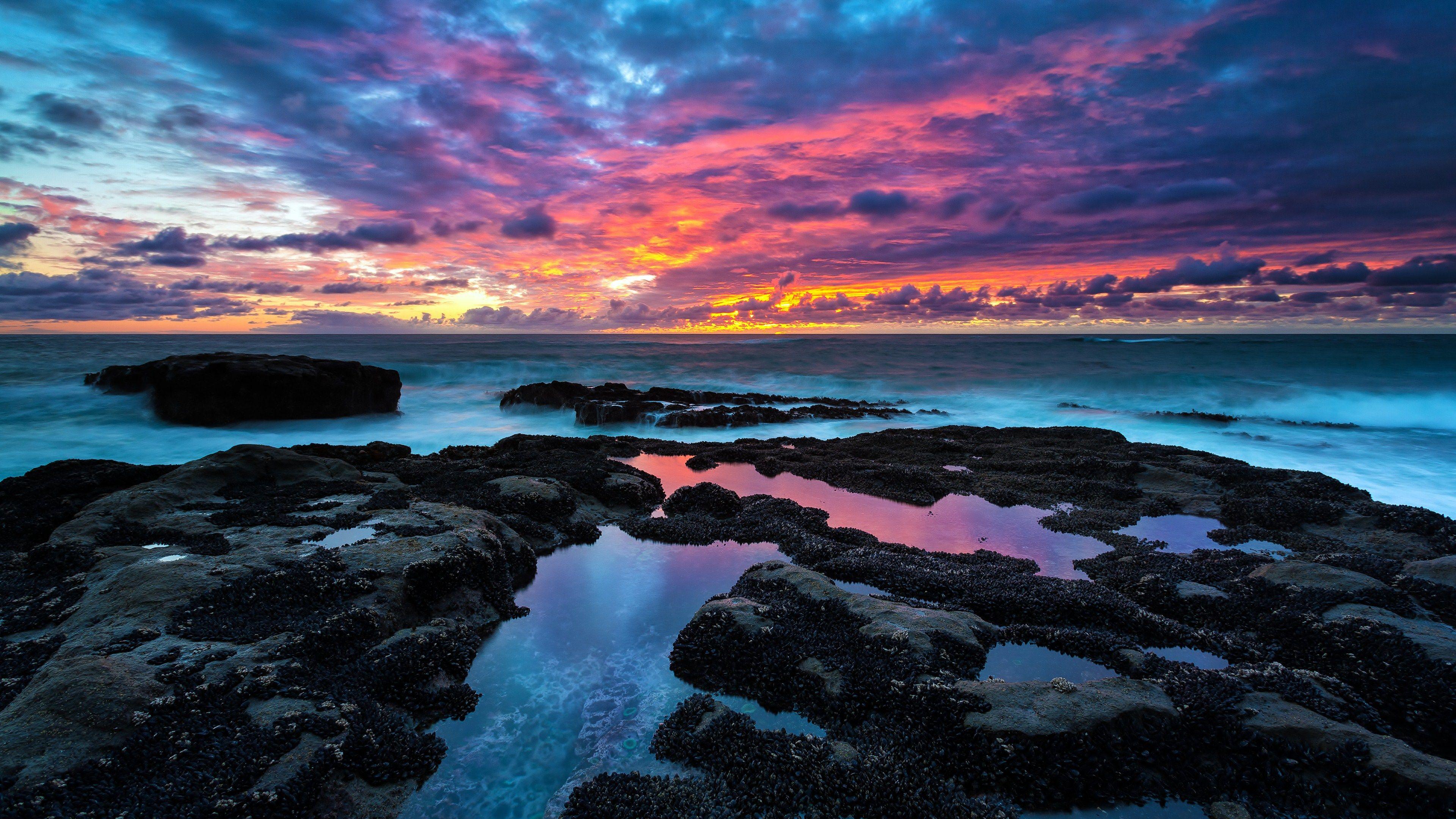 Earth Sunset Ocean Landscape Rock Nature 4k Ultrahd