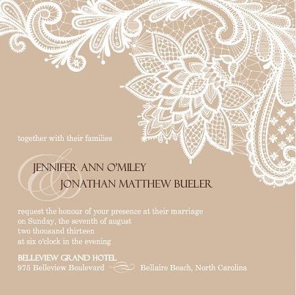 Brown-and-White-Floral-Lace-Wedding-Invite.jpg (432×431) | Wedding ...