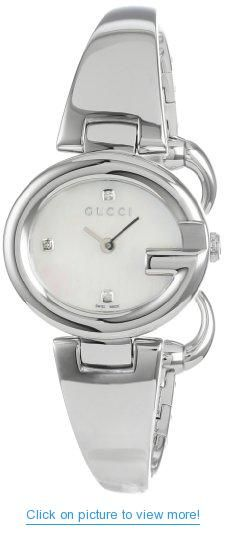 16d4fc079fa Gucci Women s YA134504 Guccissima Fashion Bangle Mother-Of-Pearl Dial Watch