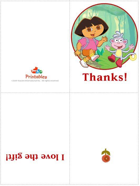 dora the explorer thank you card printable and free dora the explorer cards and stationary - Printable Pictures Of Dora The Explorer