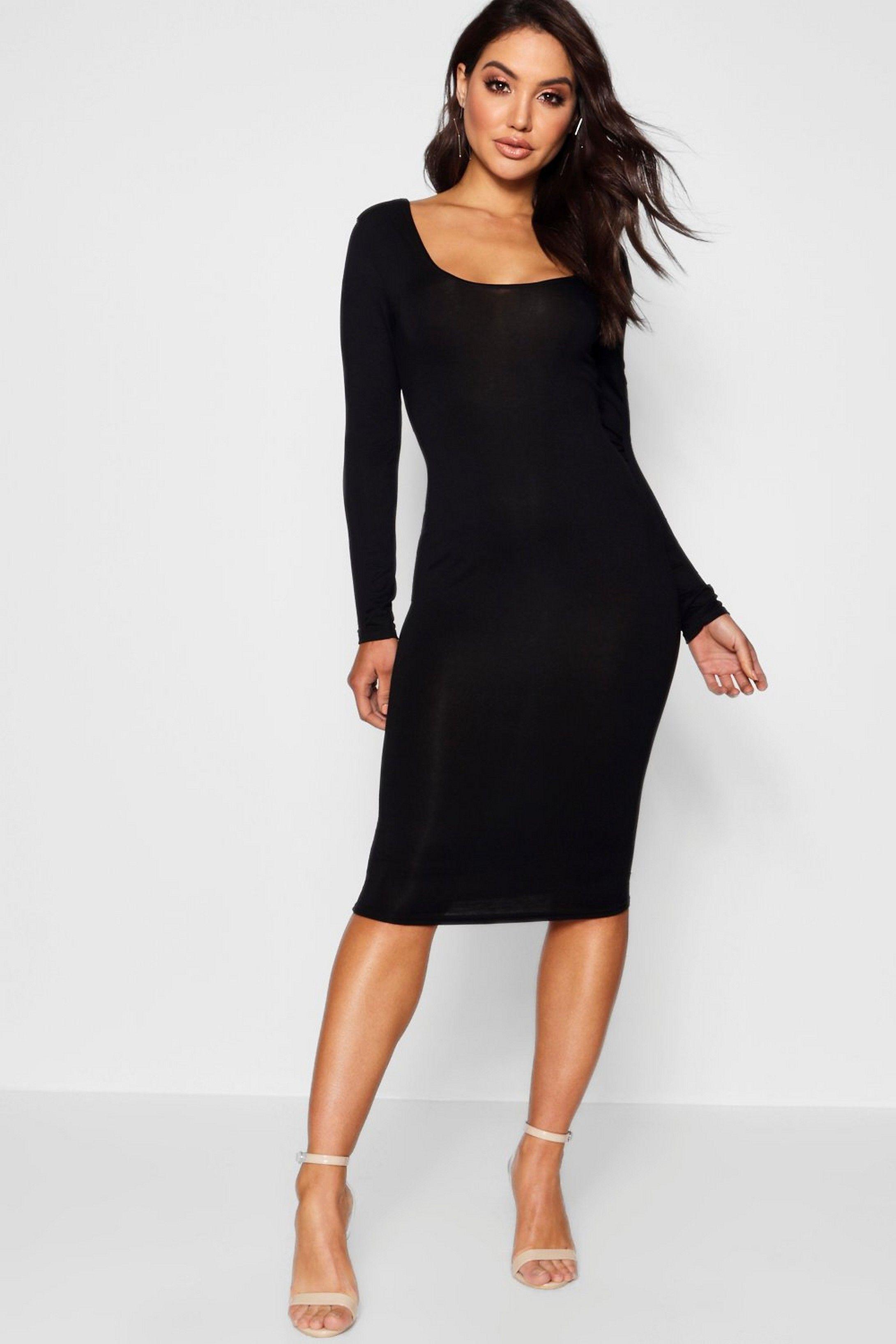 466f95962dedc Square Neck Long Sleeved Bodycon Dress in 2019   Bodycon dress ...