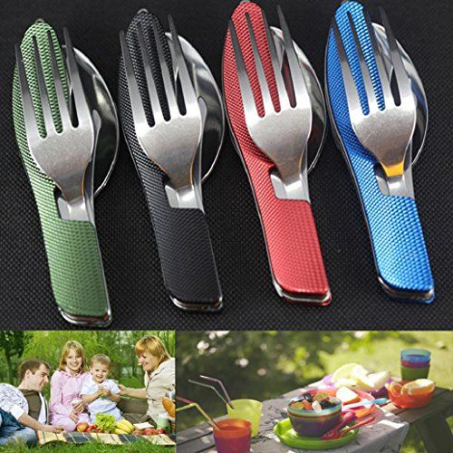 Sports & Entertainment Camping Portable Folding Spoon Fork 3 In 1 Camping Survival Set Outdoor Camping Picnic Tableware With Bag Campcookingsupplies