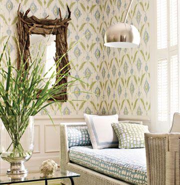 Thibaut - Island Ikat Wallpaper in Aqua - Green For ...