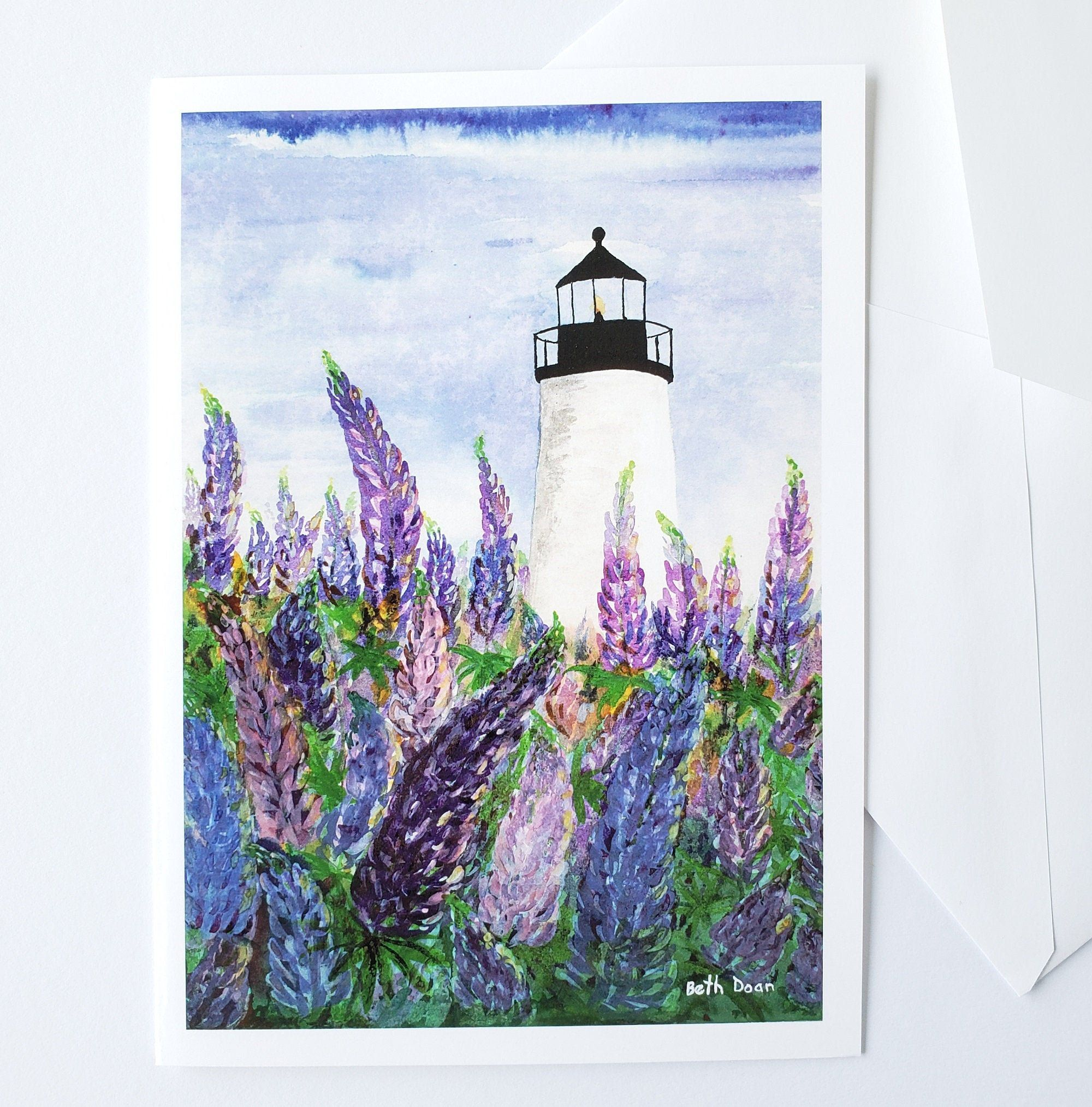 Lupines at Pemaquid Lighthouse, 5 x 7  Note Card & envelope, Maine Lighthouse
