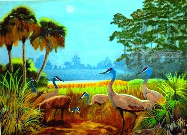 The Sandhill Cranes Artwork Painting Art Buy Original Art