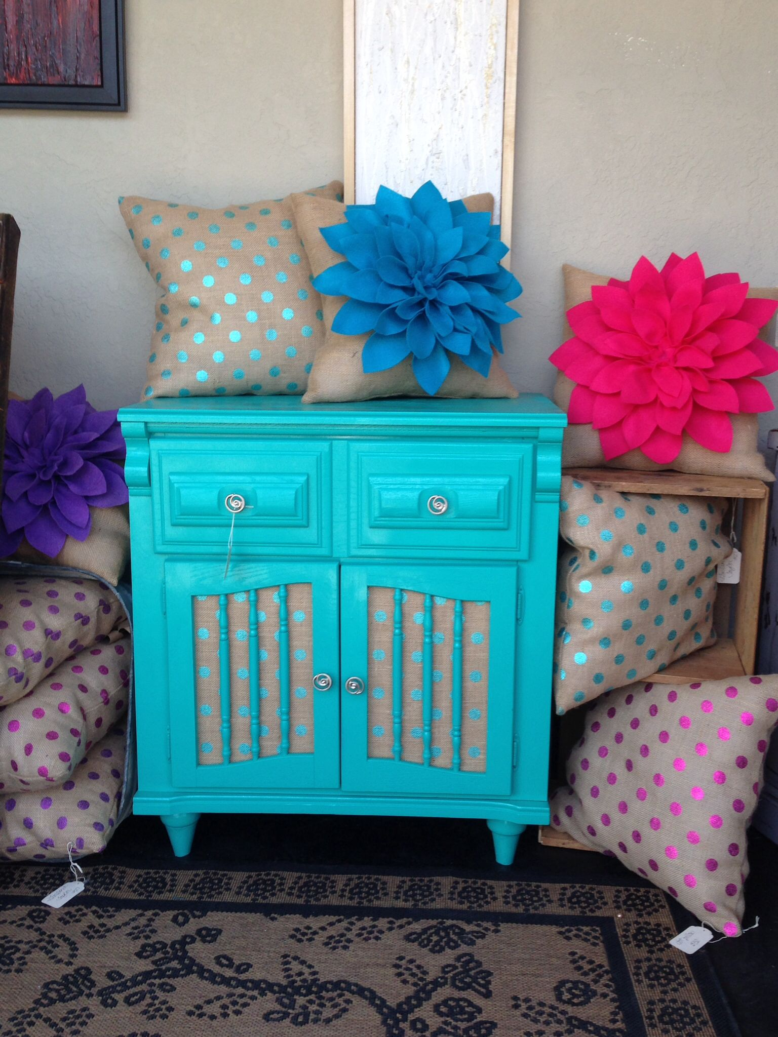 Cabinet Painted With Amy Howard Lacquer & Burlap Lining