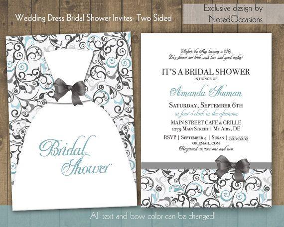 Printable DIY Bridal Shower Invitation Template - Wedding Dress - printable wedding shower invitations templates