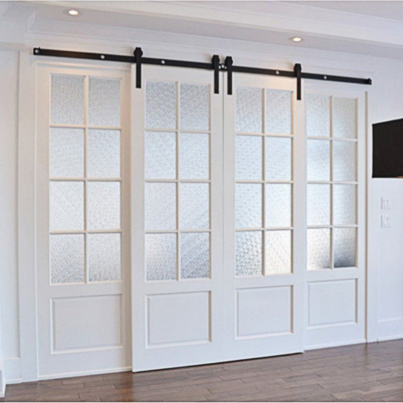 Classic Design Standard Double Track Barn Door Hardware Kit In 2020 French Doors Interior Door Design Sliding Barn Door Hardware
