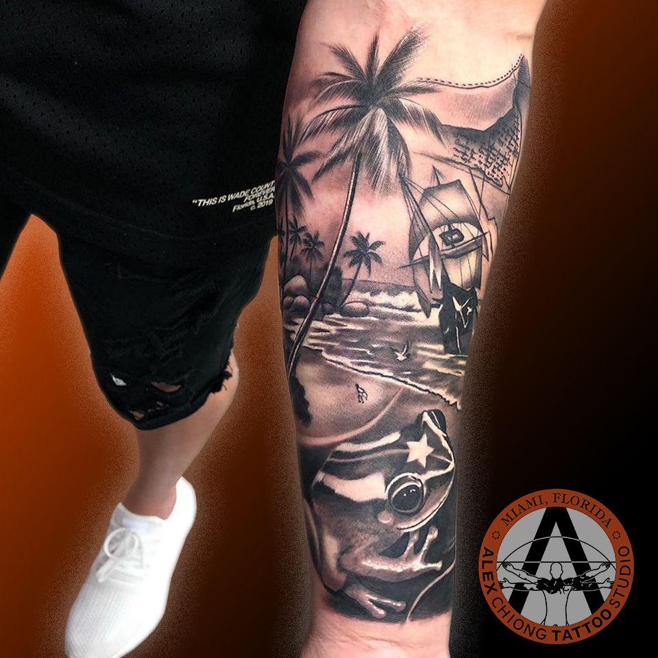 Fantasy Landscape Tattoo In 2020 Landscape Tattoo Tattoos Tattoo Studio
