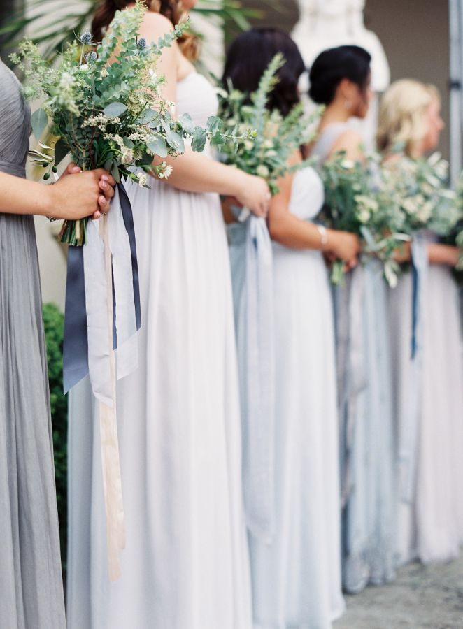 Shades of grey neutral bridesmaid dresses