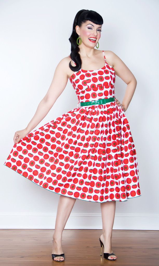 Chelsea Pin Up Dress in Cheerful Sweet Tomato Print | All the Pretty ...