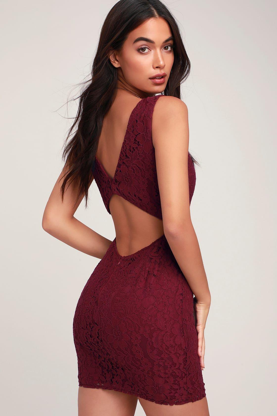 Nevaeh Burgundy Lace Cutout Mini Dress Cute Lace Dresses Burgundy Mini Dress Long Sleeve Shift Dress