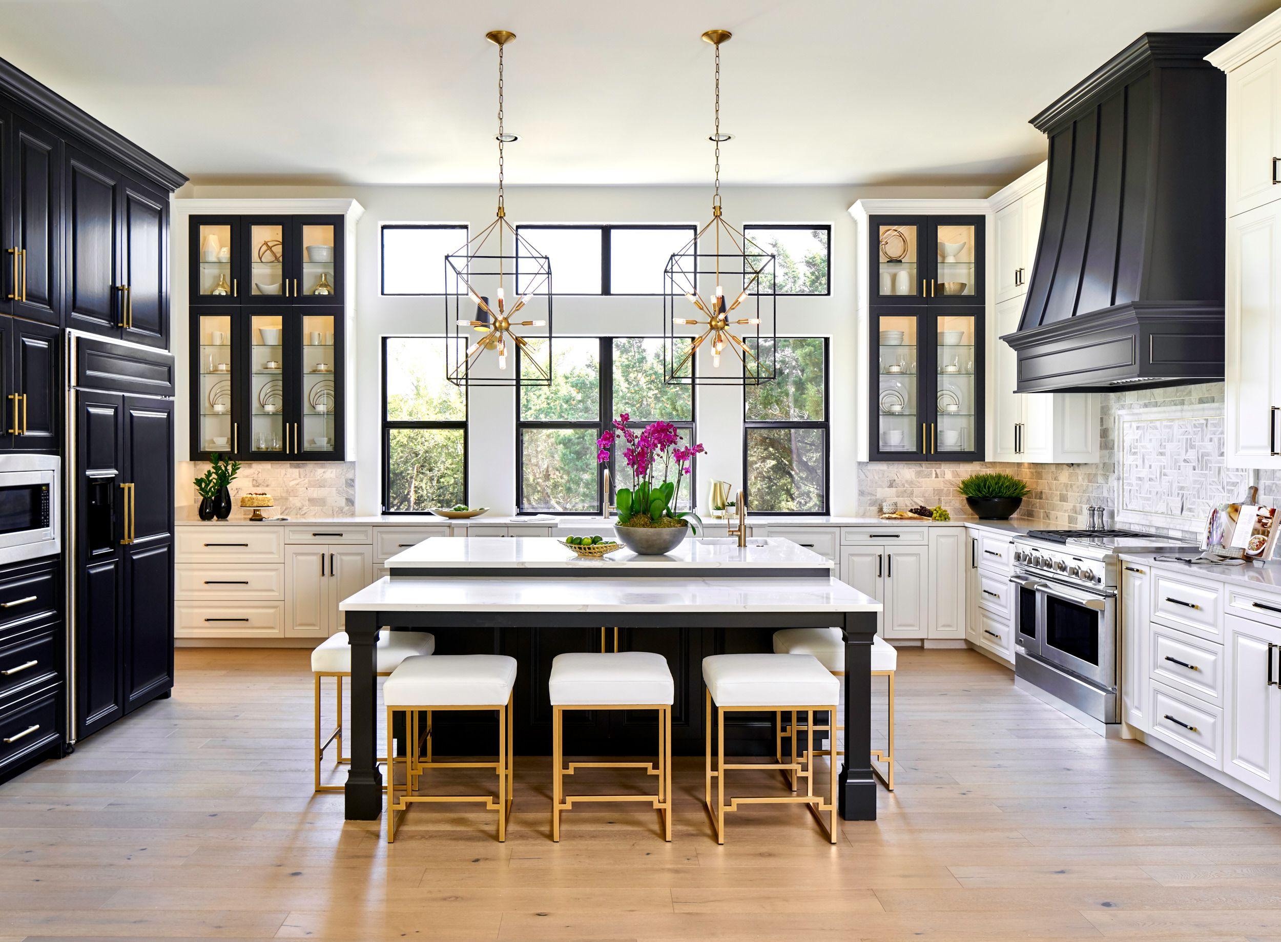 Black White Gold Transitional Kitchen With European White Oak