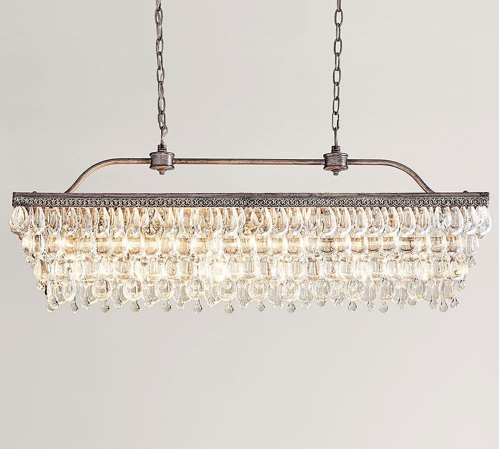 The Weston 40 Inch Rectangular Glass Drop Chandelier