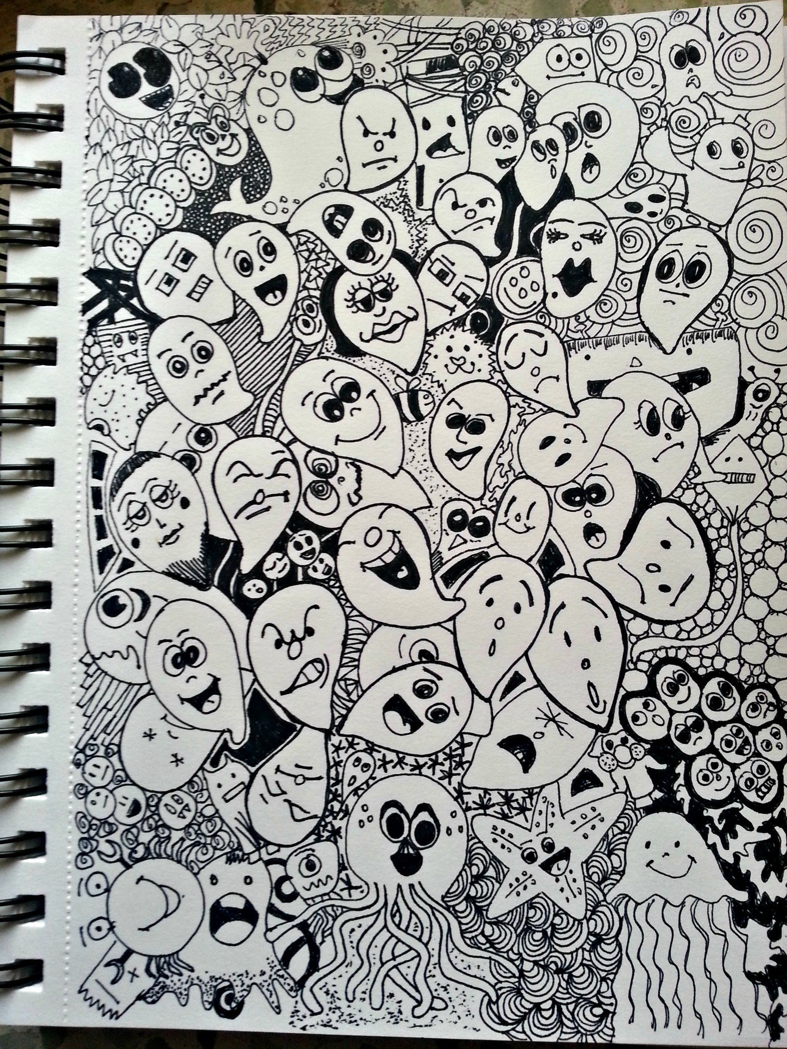 Massive Attack Of Tear Drops And Other Creatures Cluster Doodle Doodle Art Doodles Art Boards
