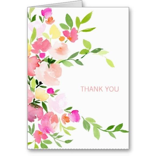 floral watercolor thank you card a cards2017 pinterest