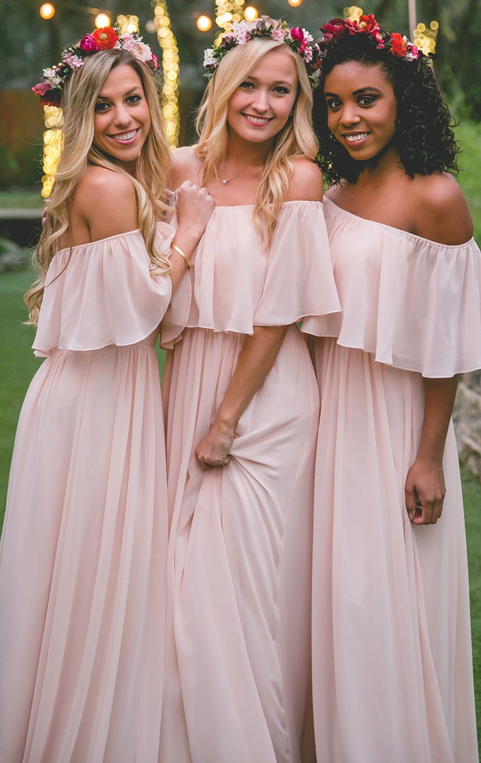 Off the shoulder chiffon long bridesmaid dress gown wedding long