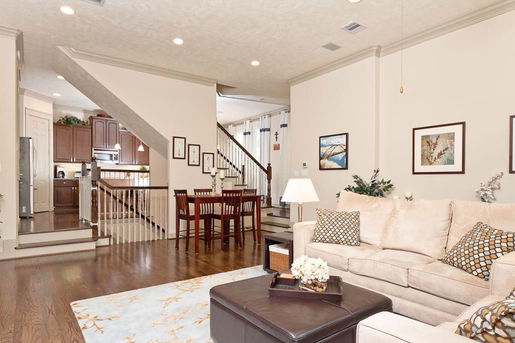 Stairs In Middle Of Open Concept Stairs In Living Room Open | House Plans With Stairs In Kitchen | Luxury | Separate Kitchen | Compact Home | 2 Bedroom Townhome | Central Courtyard House
