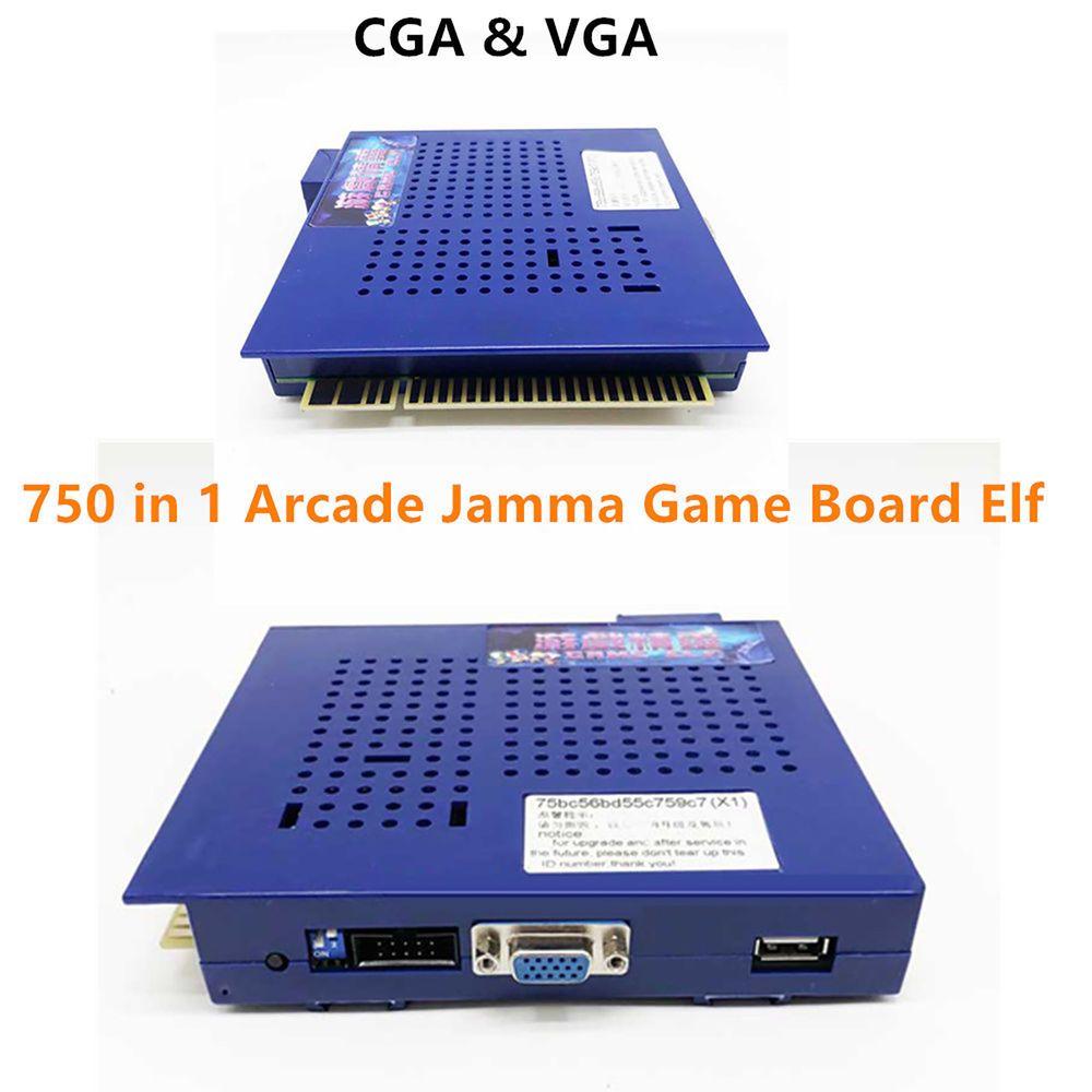 Purple Horizontal Multi Arcade JAMMA Game Board Elf 750 in 1 CGA/VGA