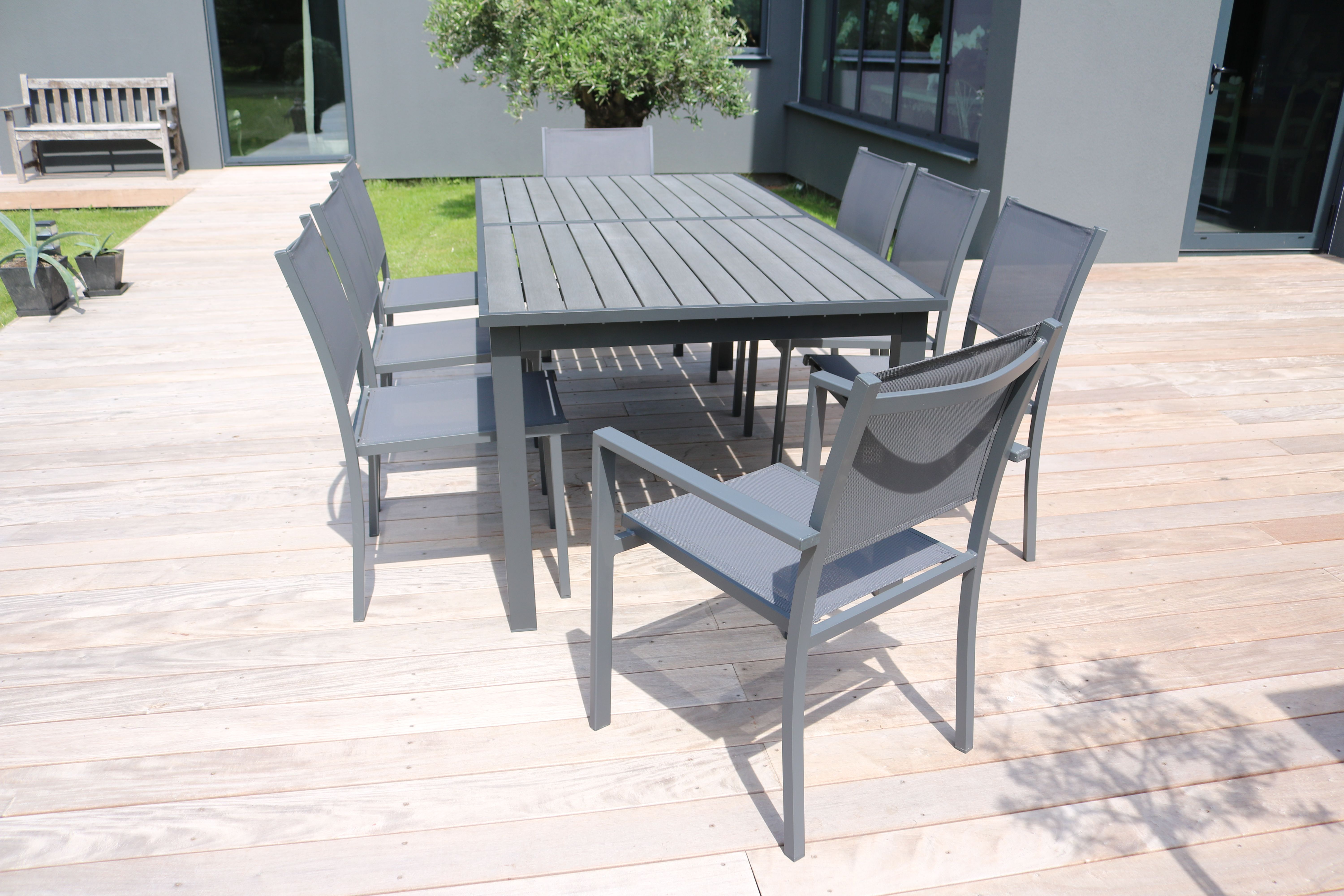 Table De Jardin Extensible 10 Places En Aluminium Et Polywood