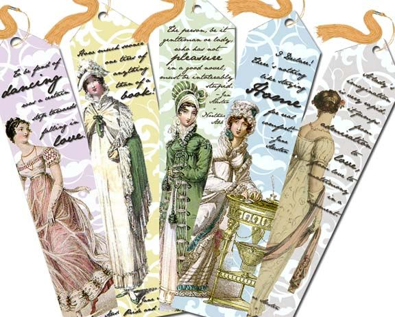 Downloadable .pdf to make Jane Austen-themed bookmarks