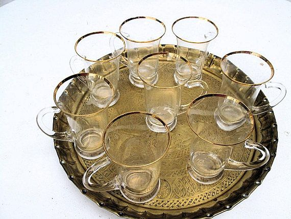 Turkish Teacoffee Glasses With Gold Rims And Handles On Brass