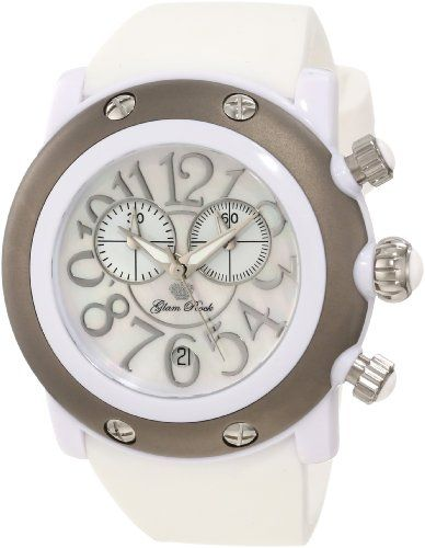 Glam Rock Women%27s GK1136 Miami Beach Chronograph White Mother-Of-Pearl Dial Watch