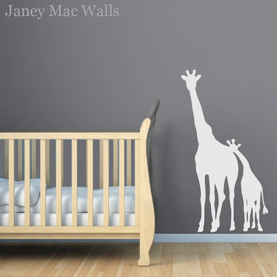 Giraffe Wall Decal Childrens Jungle Safari Sticker Room Decor Wall Sticker  Mom And Baby Giraffe Vinyl Decal  CA101