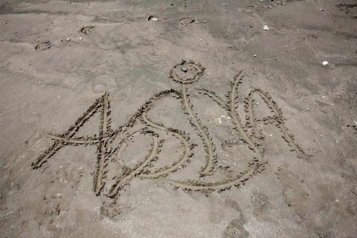 My sister engraved her name on the beach :)