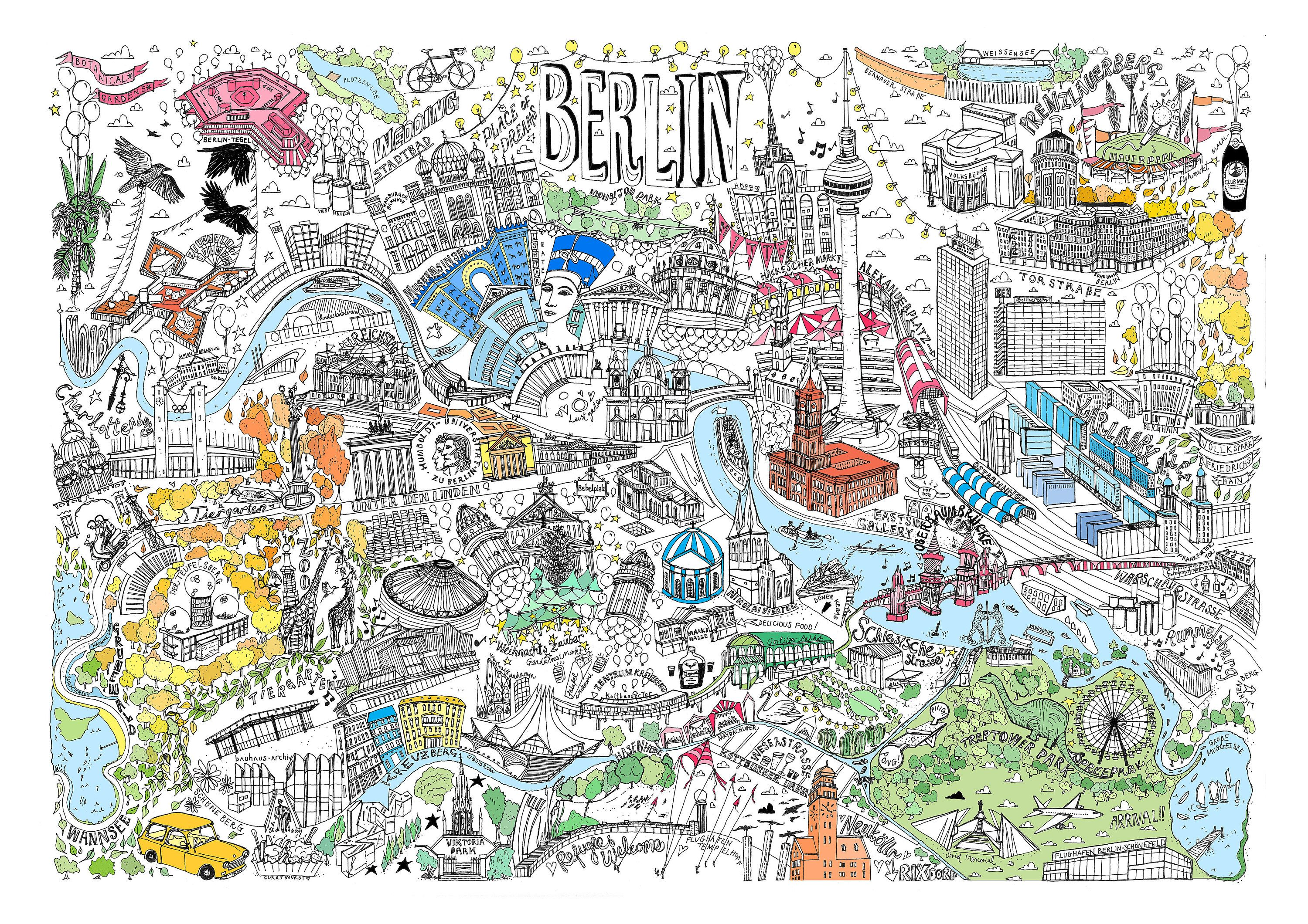 Berlin Illustrated Map Print In 2020 Illustrated Map City Map Drawing How To Draw Hands